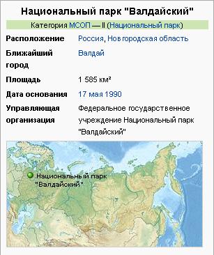 Карта Валдайского парка из Википедии