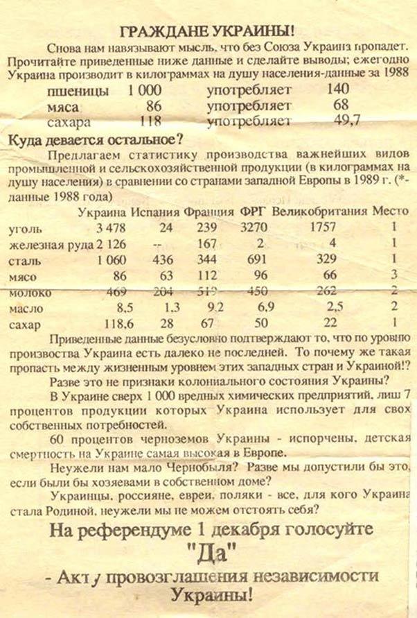 Листовка к референдуму Украины о независимости