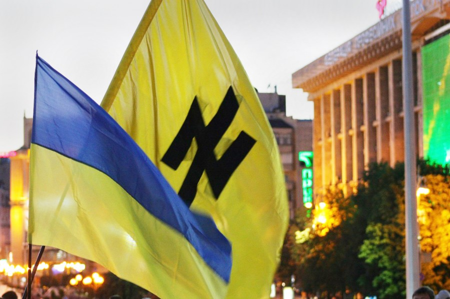 The inverted Wolfsangel seen on a flag during a demonstration in Kiev
