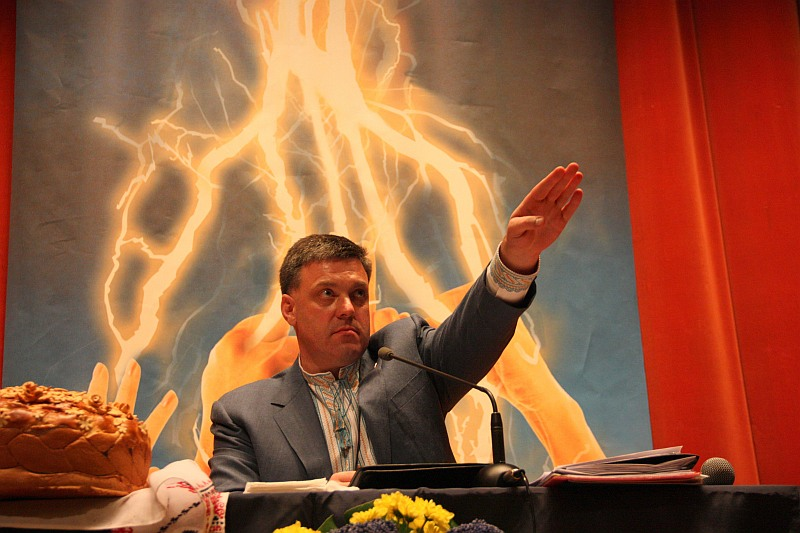 Oleh Tyahnybok at the Svoboda party meeting.