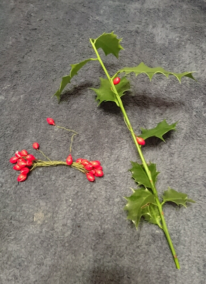 Piece of holly and some fake berries, ready to be wired on to the stem