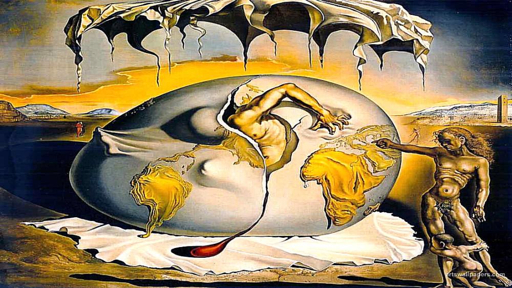"""Сальвадор Дали """"Геополитический младенец, наблюдающий рождение нового человека"""" (1943 год)."""