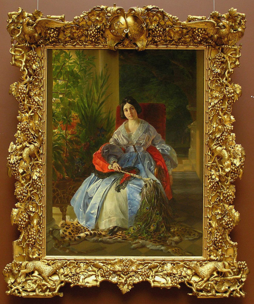 Karl Bryullov (1799-1852), Portrait of Princess Saltykov, o/c, 1841, in its original carved wood trophy frame, State Russian Museum, St. Petersburg