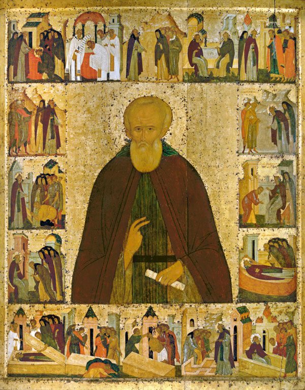 Димитрий Прилуцкий с житием, икона из Спасо-Прилуцкого монастыря. Ок. 1503 г. ВГИАХМЗ