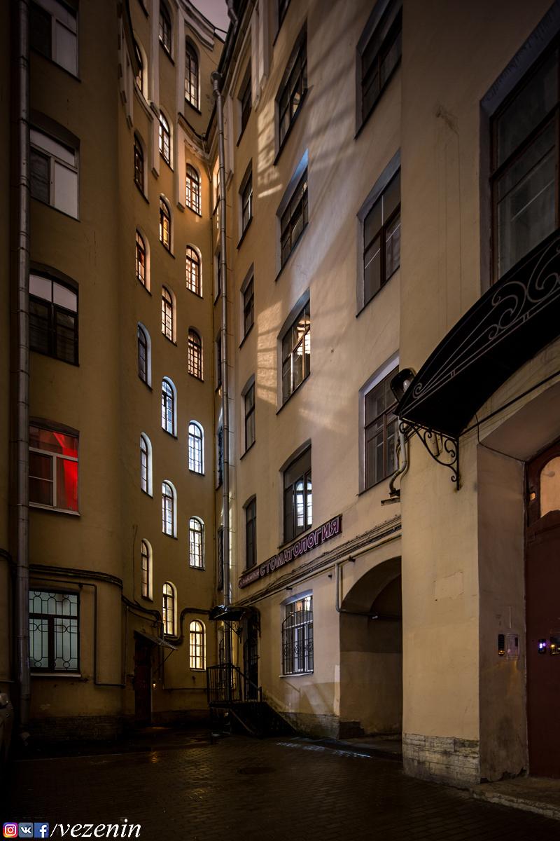 Утренний свет в шаговых окнах чёрной лестницы дома 135 по Невскому проспекту.