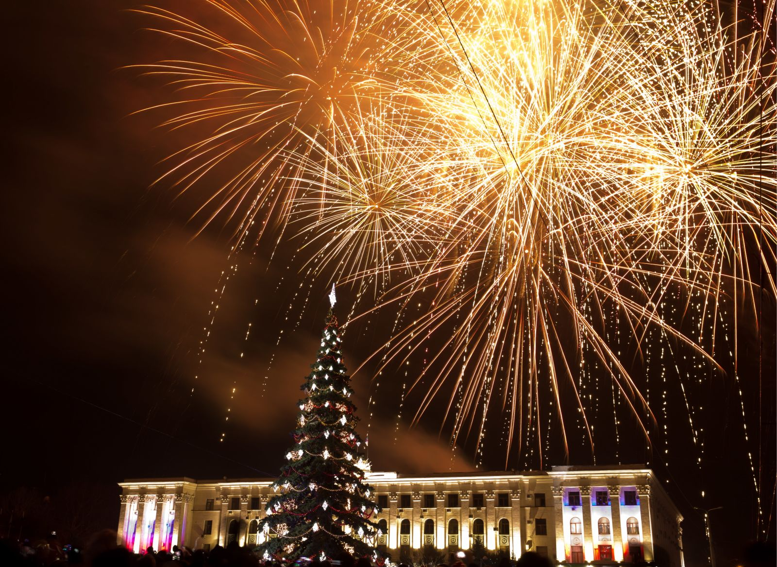 Fireworks go off over central Simferopol, Russia. Сергей Мальгавко ТАСС Getty Images.jpg