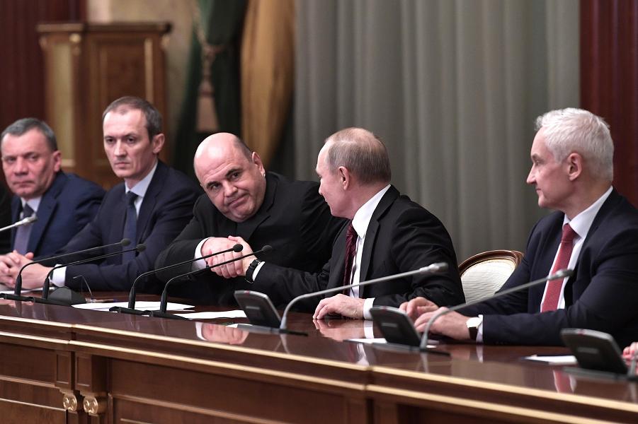 Борисов, Григоренко, Мишустин, Путин, Белоусов, встреча президента с новым правительством, 21.01.20.png