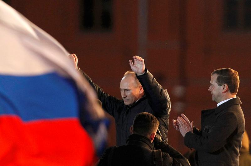 Путин  в ночь победы на выборах 2012 год