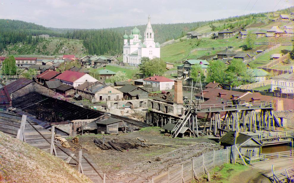 Завод в Кине, Россия, принадлежащий графу С. А. Строганову, 1912 год.