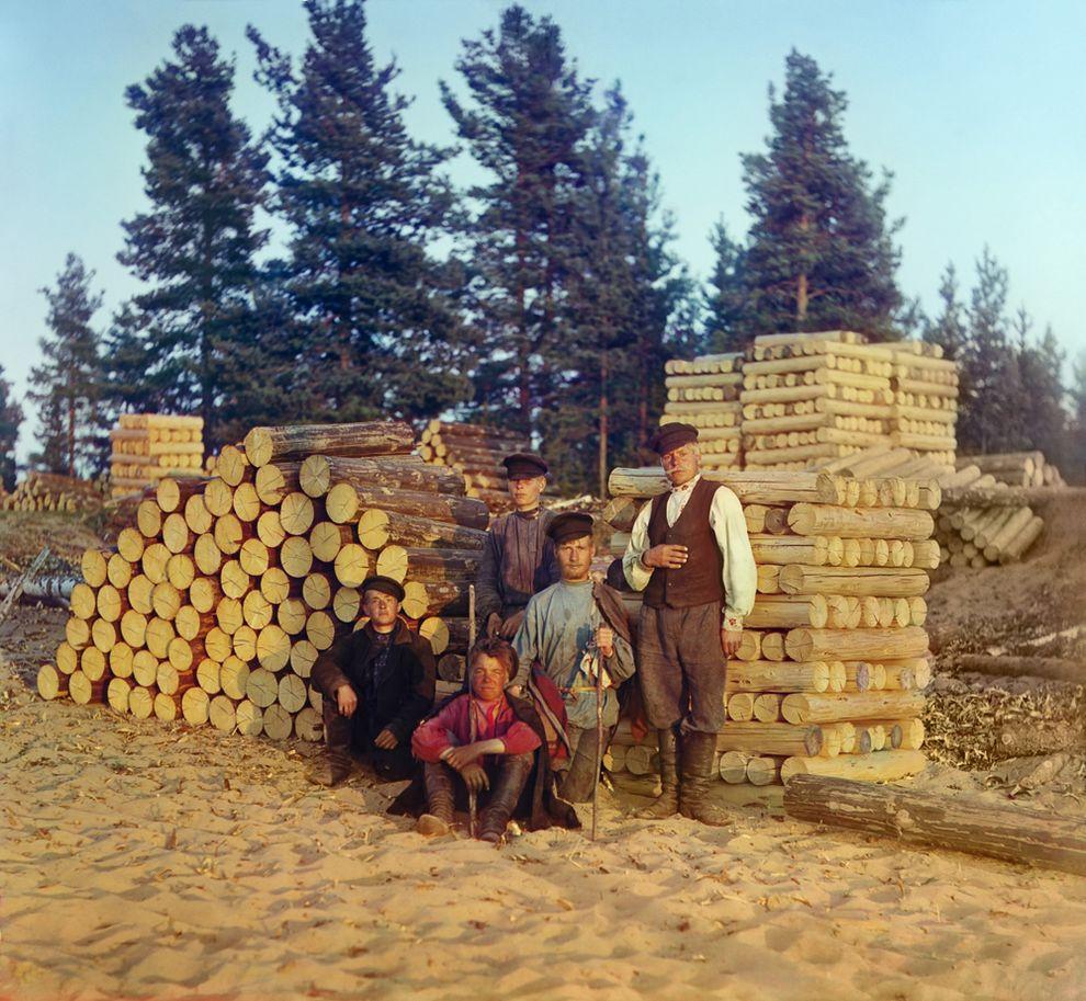 Пильщики на Вытегре. Онежское озеро, 1909 год