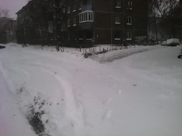Виктор Корб привычно чистит снег вокруг своих любимых газонов