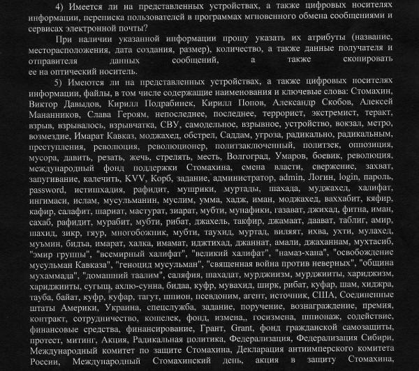 Фрагмент списка ФСБ