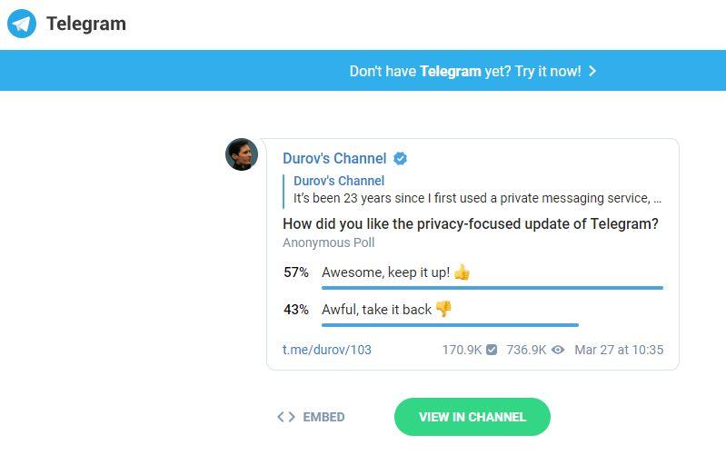 Скриншот результатов опроса об отношении к радикальному апдейту Телеграма