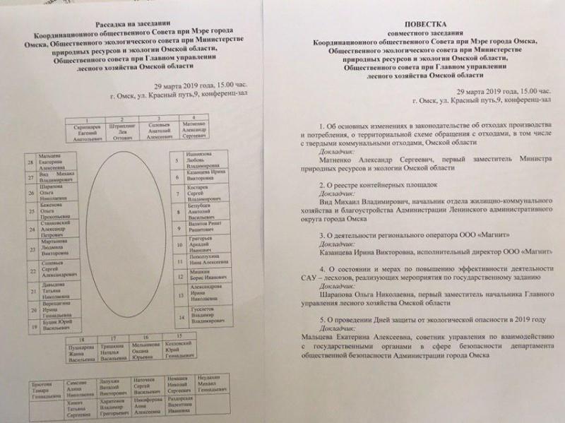 Материалы к заседанию общественного координационного совета при мэра Омска