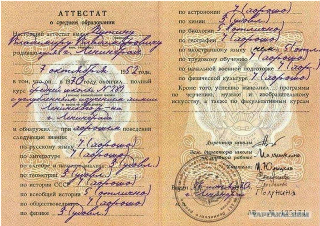 Аттестат о среднем образовании Путина Владимира Владимировича