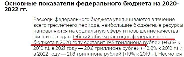Федеральный бюджет России на 2020-2022 года.