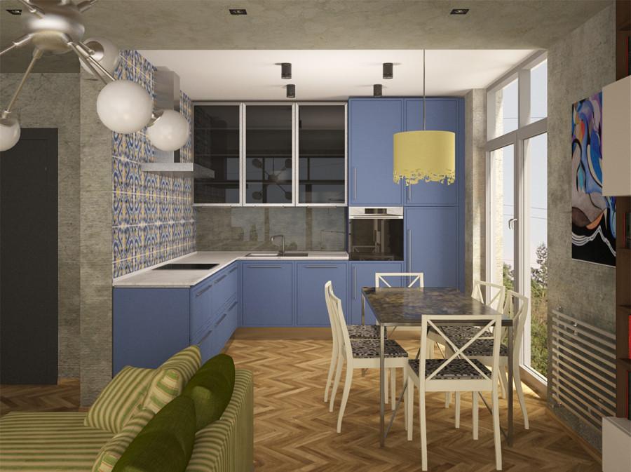 2 комнатная кухня гостиная 1