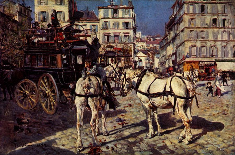 Boldini Giovanni Omnibus auf dem Pigalle-Platz in Paris