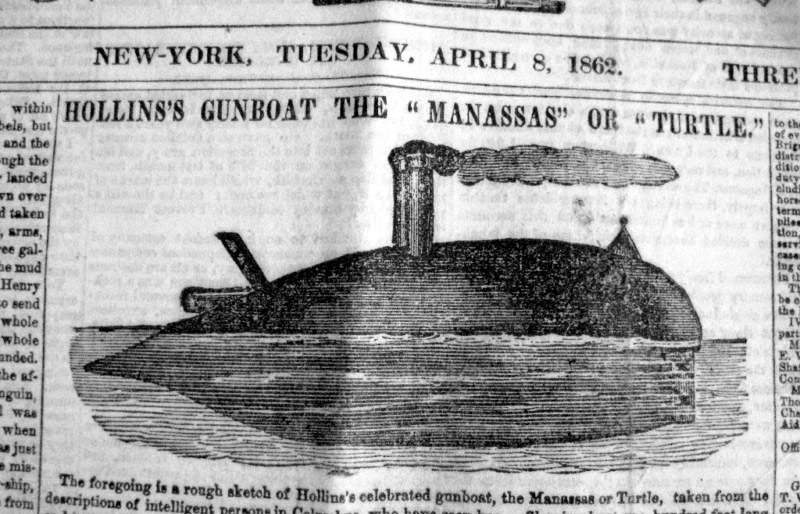 contemporary sketch inNew York Tribune, April 8, 1862 of CSS MANASSAS