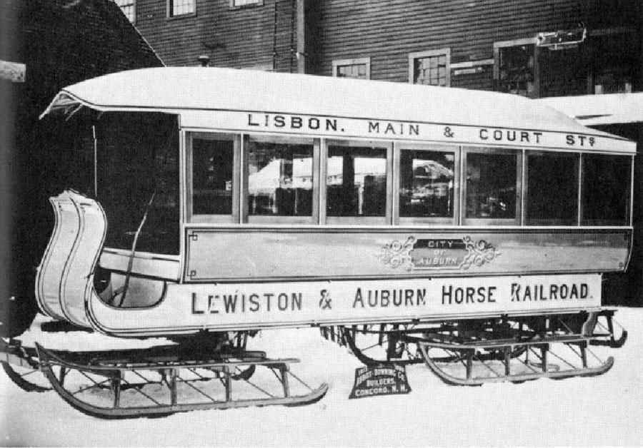 Omnibus sur patins de la Lewiston and Auburn Railroad Company USA