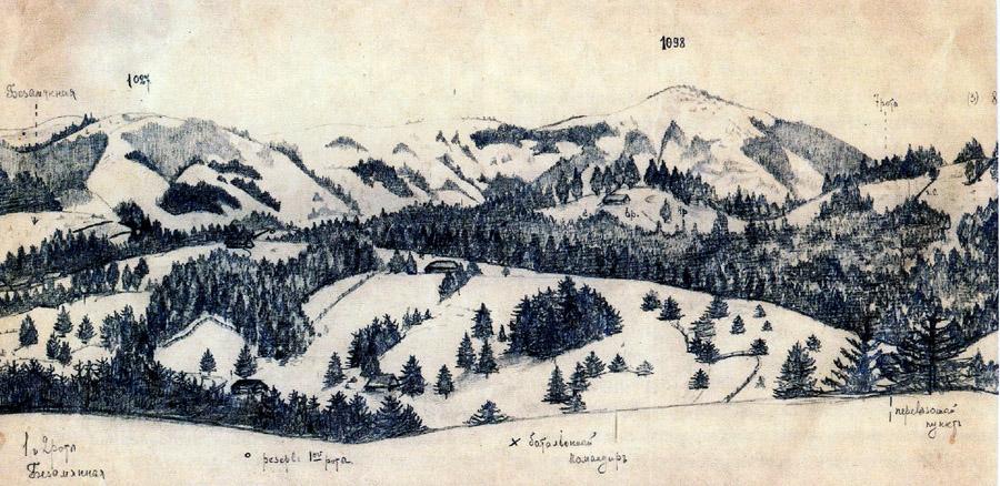 Глазомерная съемка немецко-австрийских позиций у Сенечувского перевала февраль