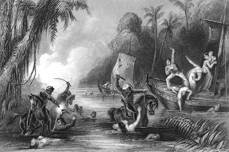 Massacre_in_the_boats_off_Cawnpore_-_The_history_of_the_Indian_Mutiny_(1858-1859),_opposite_336_-_BL