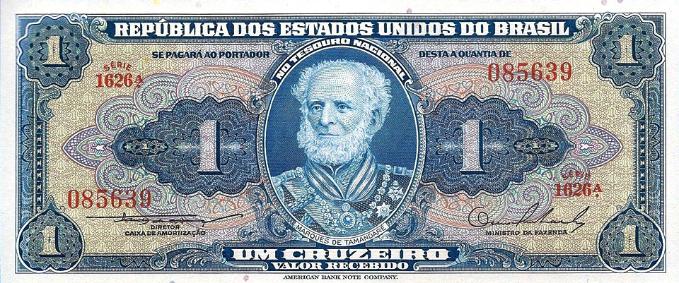 Brazil-P-150b-1-Cruzeiros-ND-Year-1954-1958-Uncirculated