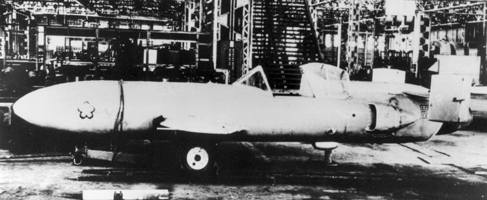 Yokosuka_MXY_7_Ohka_in_hangar_in_1945