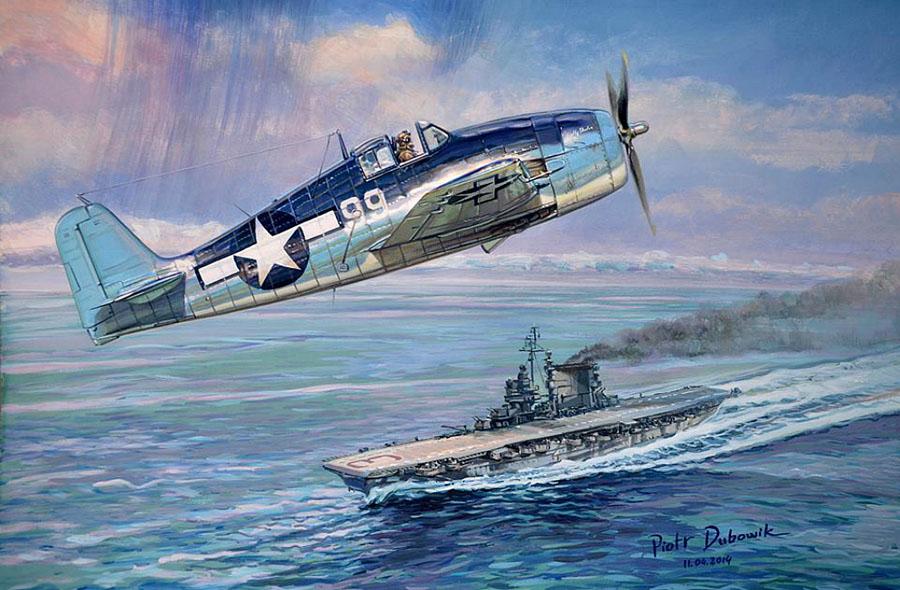 F6F Hellcat over USS Saratoga (Piotr Dubowik)