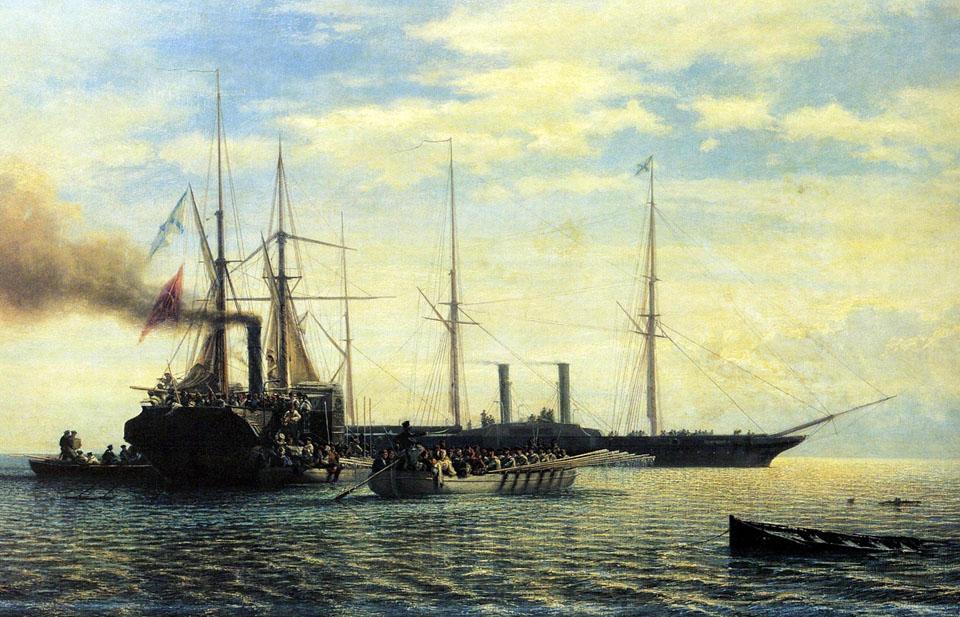 Взятие в плен пароходофрегатом %27Владимир%27 турецкого вооруженного парохода %27Перваз-Бахри%27 5 ноября 1853 г-1_resize