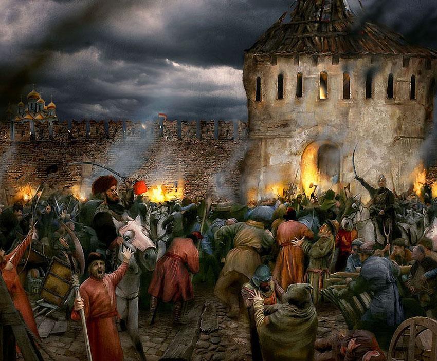 -за Москву в 1612 году. Эскиз к музею-панораме