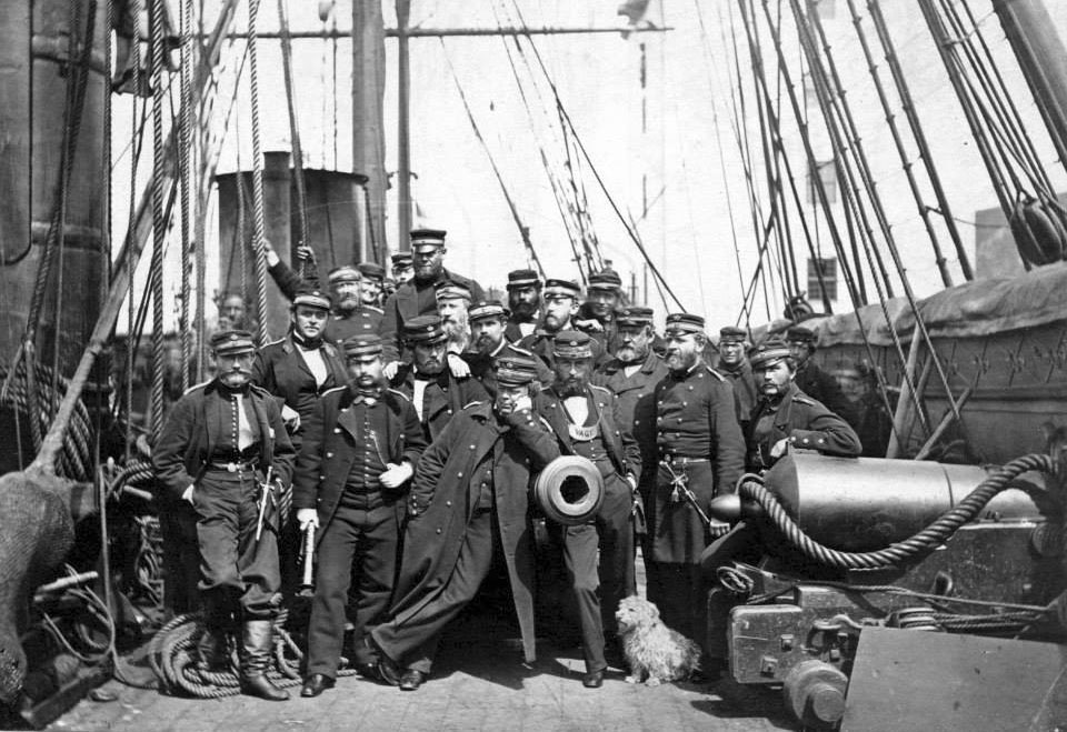Officers of the Danish steam frigate JYLLAND,after the Battle of Helgoland,