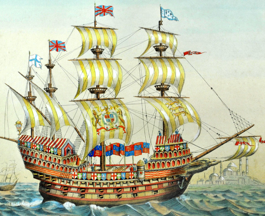 19th-c-nautical-print-hand-color-great-harry-english-battleship-great-ship-1520-6f11ae561873193929c0af88c1fd3c3d