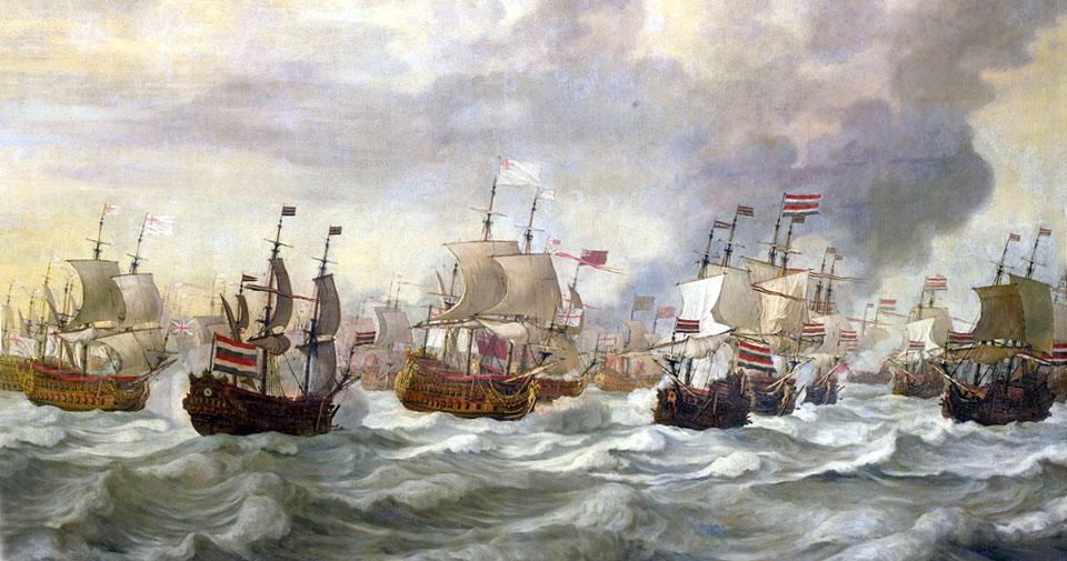 Four_Day_Battle_-_Episode_uit_de_vierdaagse_zeeslag_(Willem_van_de_Velde_I,_1693)