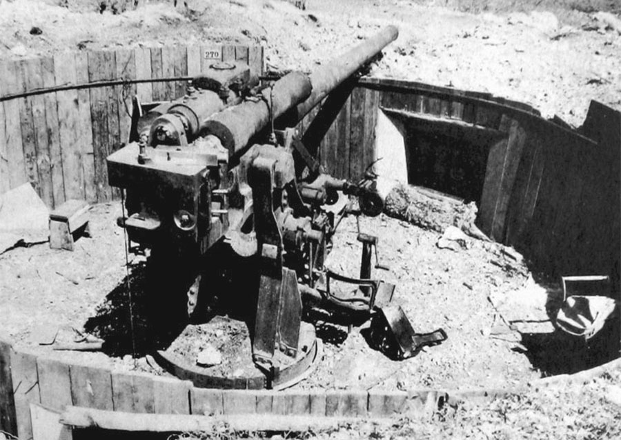 120-mm gun captured on Saipon.