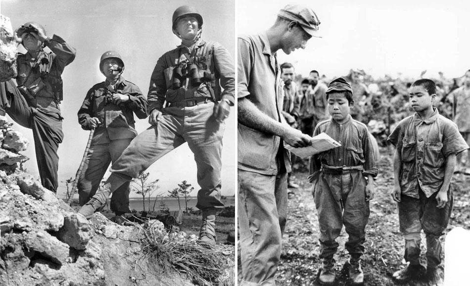 Lt. Gen. Simon Buckner, Jr., Maj. Gen. Lemuel Shepperd, and Brig. Gen. William Clement on Okinawa