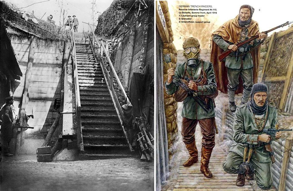 German_dugout_steps_Bernafay_Wood_Somme_1916_IWM_Q_4307