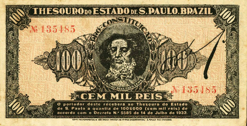 Brazil 100 Mil Reis banknote 1932 First Issue Sao Paulo