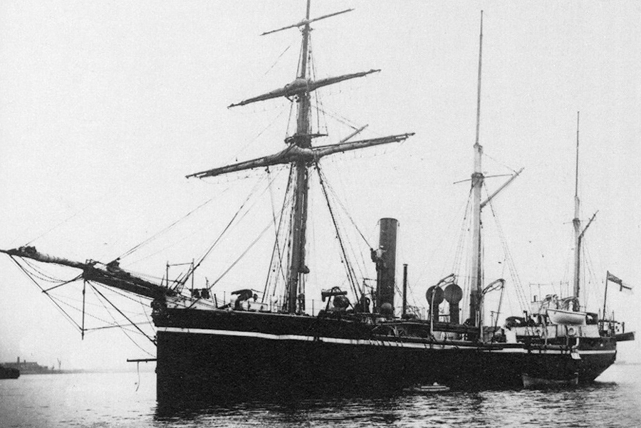 hms-sparrow-passes-coast-of-south-west-africa-in-1891-vessel