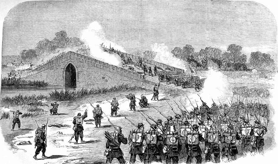 French_attack_the_Bridge,_Pa-Li-Chian,_1860