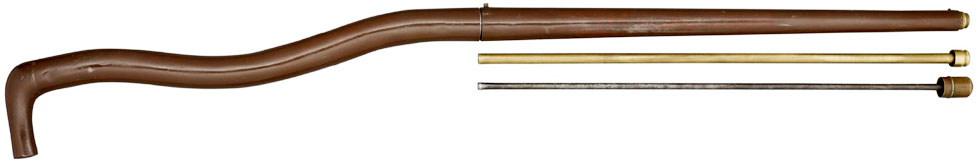 A 50 BORE BENT AIR CANE WITH 30 CALIBRE RIFLED BRASS BARREL 1840