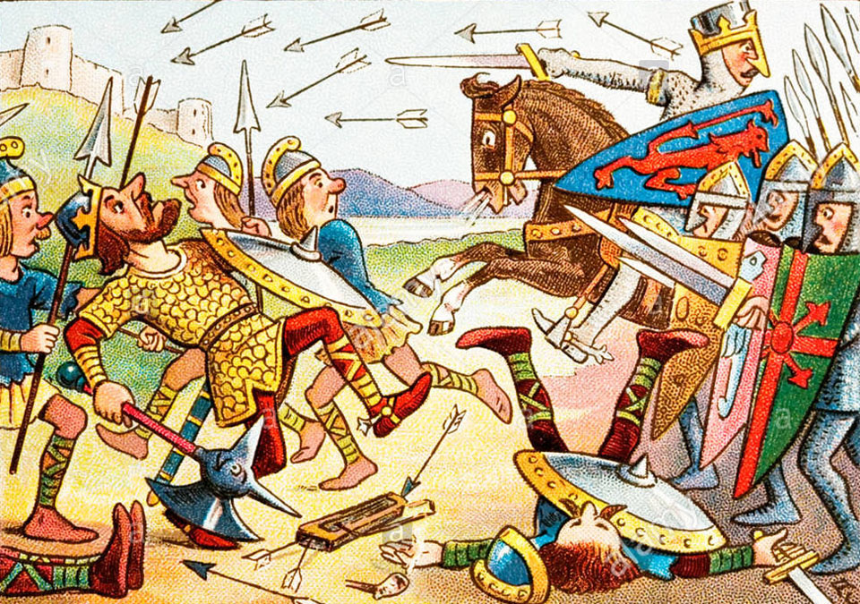 comic-history-of-england-card-battle-of-hastings-showing-william-the-BK1CEE