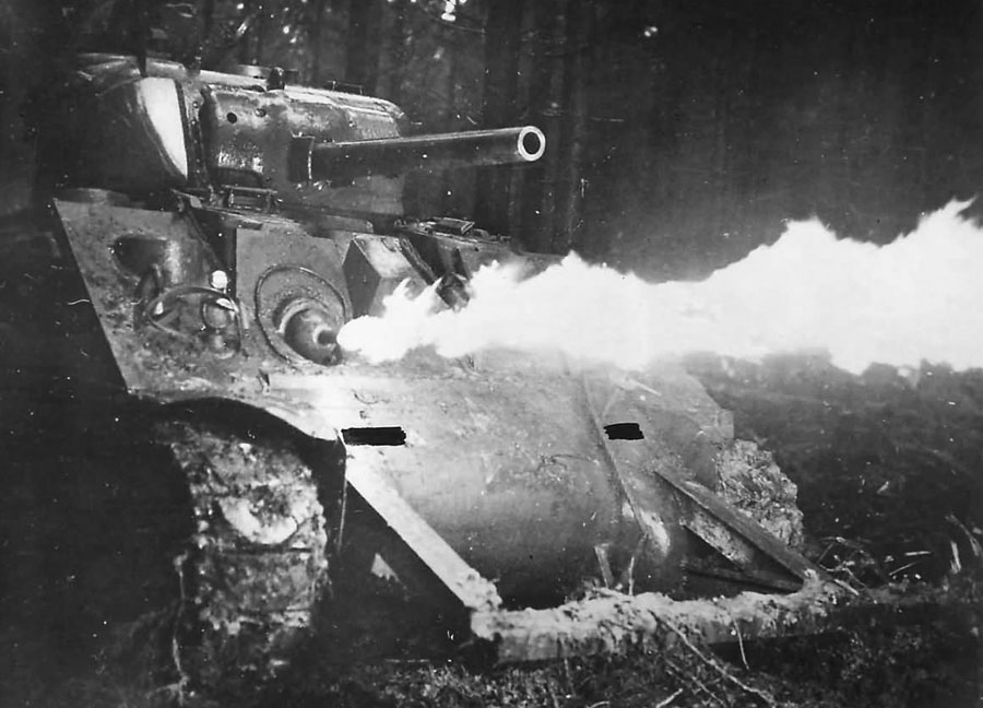 M4_Sherman_Crocodile_flame_tank_in_Action_Germany_1944