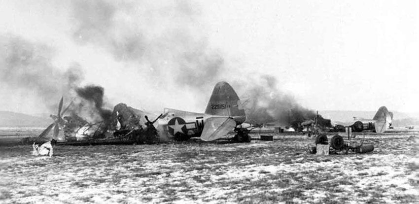 Metz_Airfield_-_Destroyed_P-47s_Operation_Bodenplatte