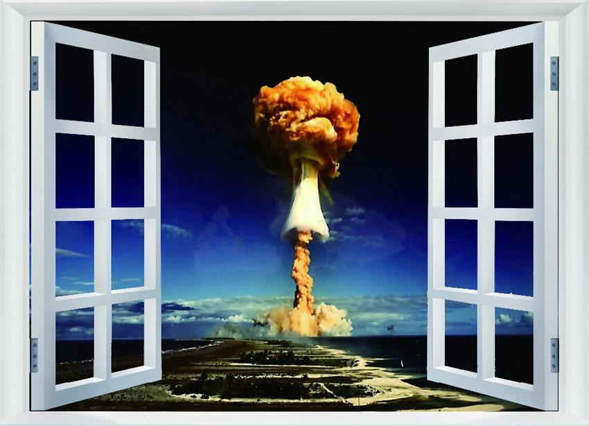 Ядерный-Взрыв-Гриб-ОГРОМНЫЙ-GIANT-Поддельные-Окна-Декор-Плакаты-FW00472