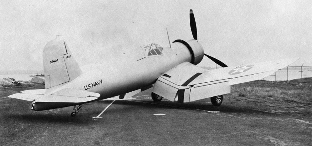 XF4U-1 3qtr rear view flaps down cropped