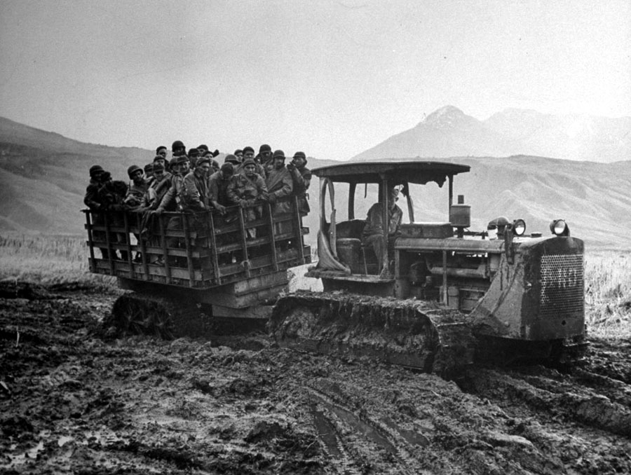 American soldiers transported