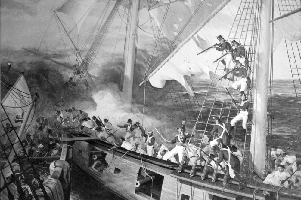 USS_Wasp_Engage_HMS_Reindeer._June_1814_John_Clymer