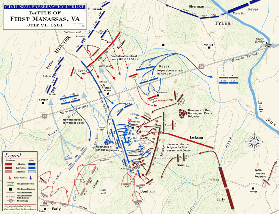 Схема битвы при Булл Ране,