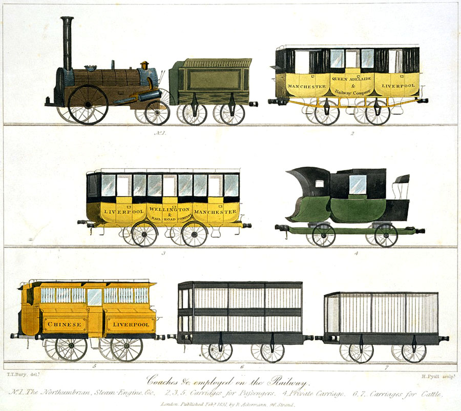 Coaches_etc_employed_on_the_Railway,_from_Bury's_Liverpool_and_Manchester_Railway,_1831_-_artfinder_8928